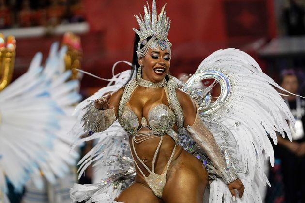 Drum queen Raissa de Oliveira from the Beija Flor samba school performs during Carnival celebrations...