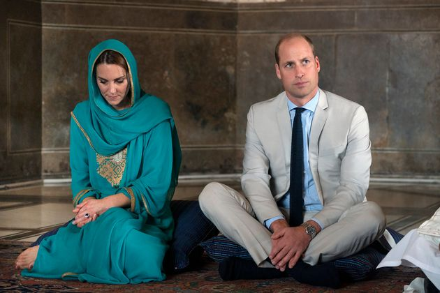 The Duke and Duchess of Cambridge during a visit to Badshahi Mosque, Lahore, on the fourth day of the...