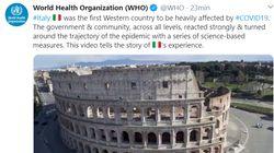 L'Oms omaggia l'Italia: