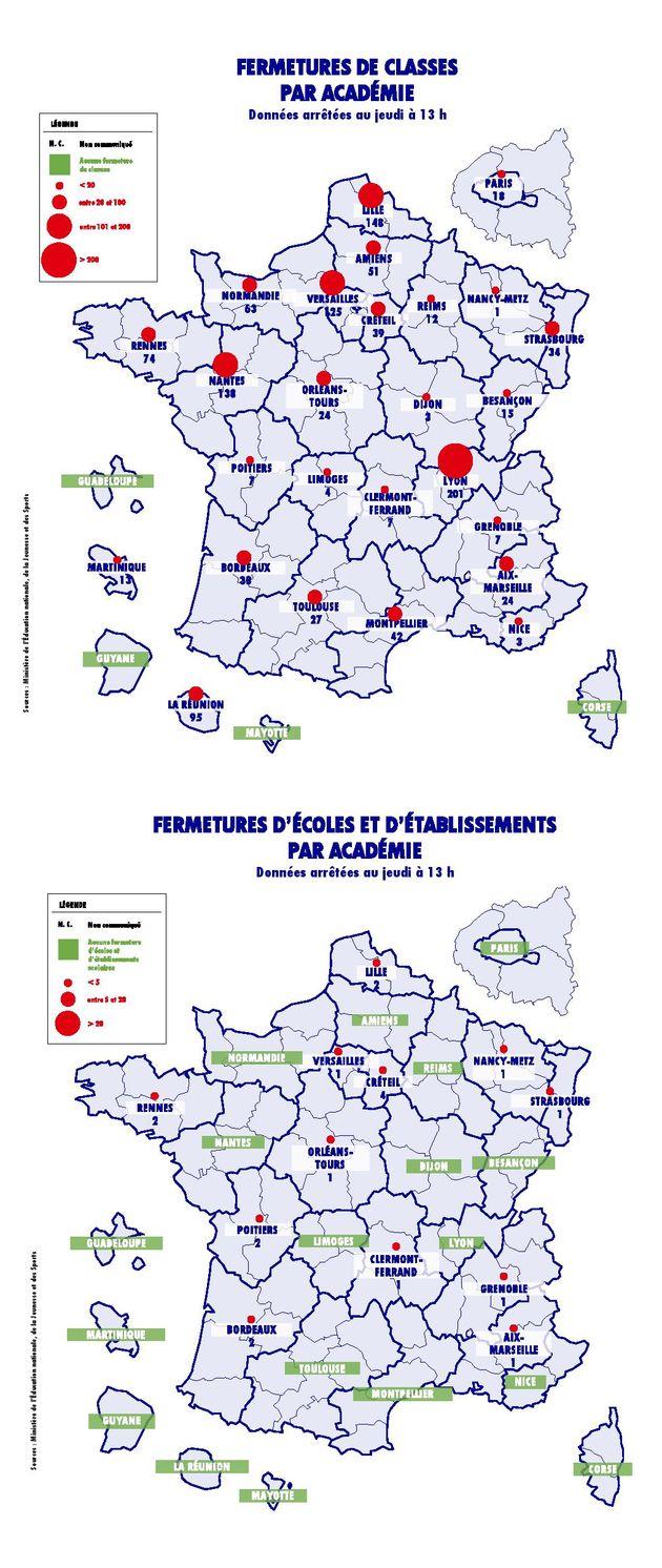 Quelque 1152 classes et 19 structures scolaires sont actuellement fermées en raison de cas de...