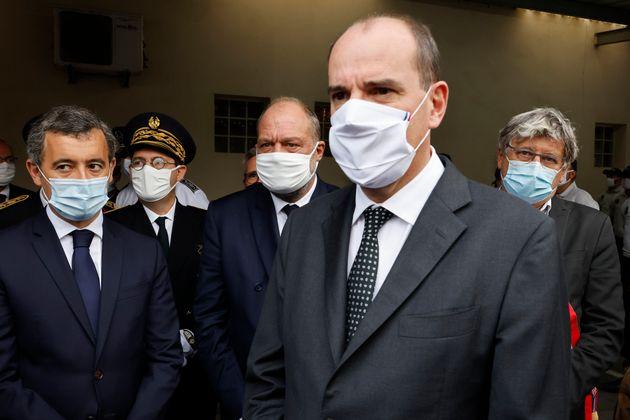 Le ministre de l'Intérieur Gérald Darmanin, le préfet de Seine-Saint-Denis Georges-Francois Leclerc,...