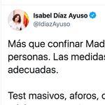 Críticas a Ayuso por su reacción en Twitter a las nuevas medidas en Madrid: mira el final del