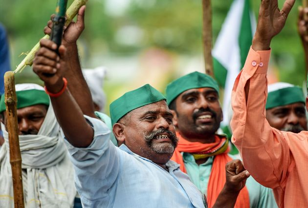 Farmers of the Bharatiya Kisan Union (BKU) during the nationwide agitation, in Allahabad on September...