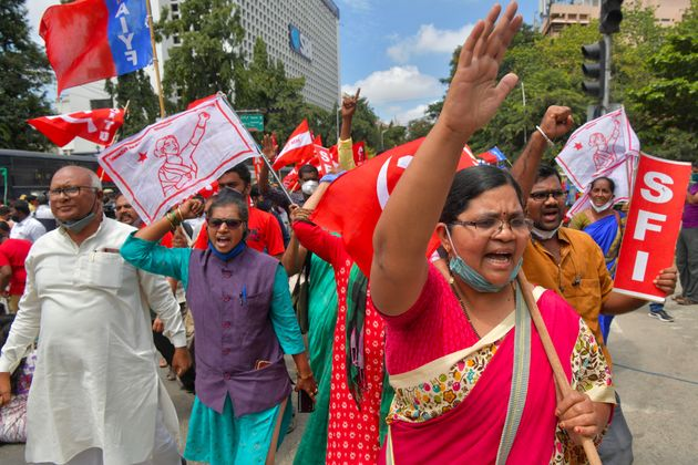 Activists from various farmers' organisations stage a protest in