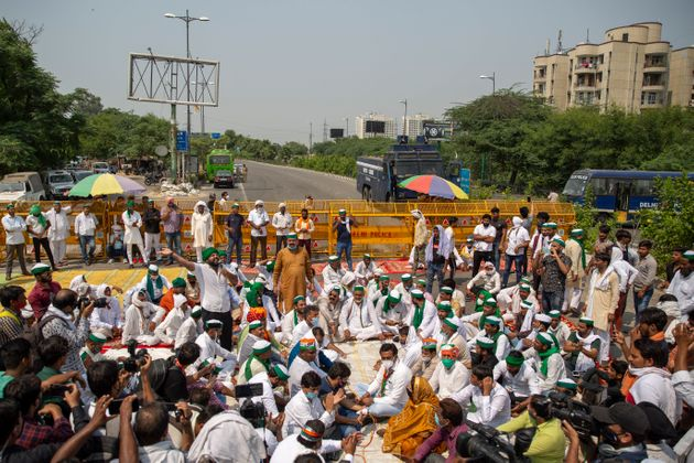Indian protest at a highway in Noida on September 25,