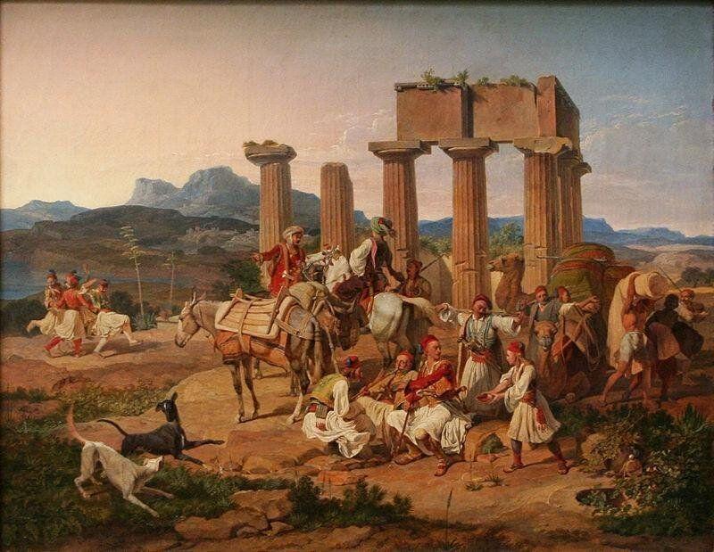Karl von Heideck, Palikaren vor dem Tempel von Corinth (Παλληκάρια...