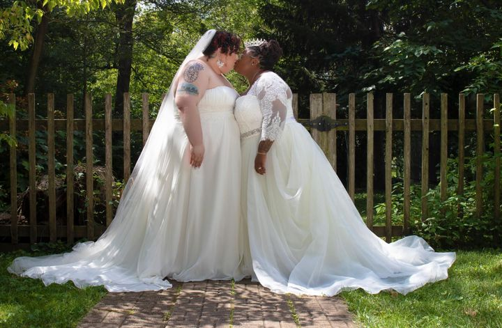 The author (left) with her wife, Jodyann Morgan, on their wedding day.