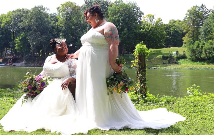 The author (right) with her wife, Jodyann Morgan, on their wedding day.