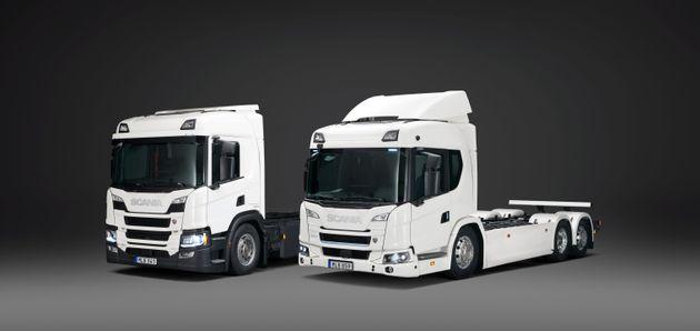 Scania P 360 plug-in hybrid 6x2 rear-steer rigid and Scania 25 L battery electric 6x2 rigid