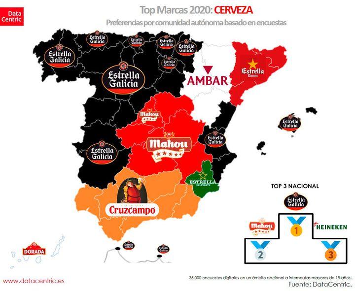 Mapa de la cerveza preferida por comunidades autónomas.