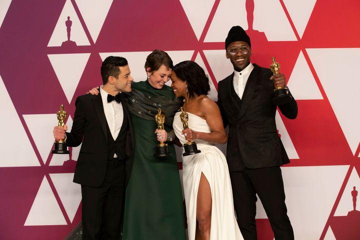 Actors Rami Malek, Olivia Colman, Regina King and Mahershala Ali backstage at the Oscars on Feb. 24, 2019.