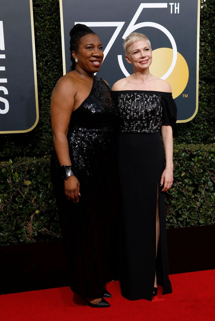 Tarana Burke, founder of the Me Too movement, and actor Michelle Williams at the Golden Globes on Jan. 7, 2018.