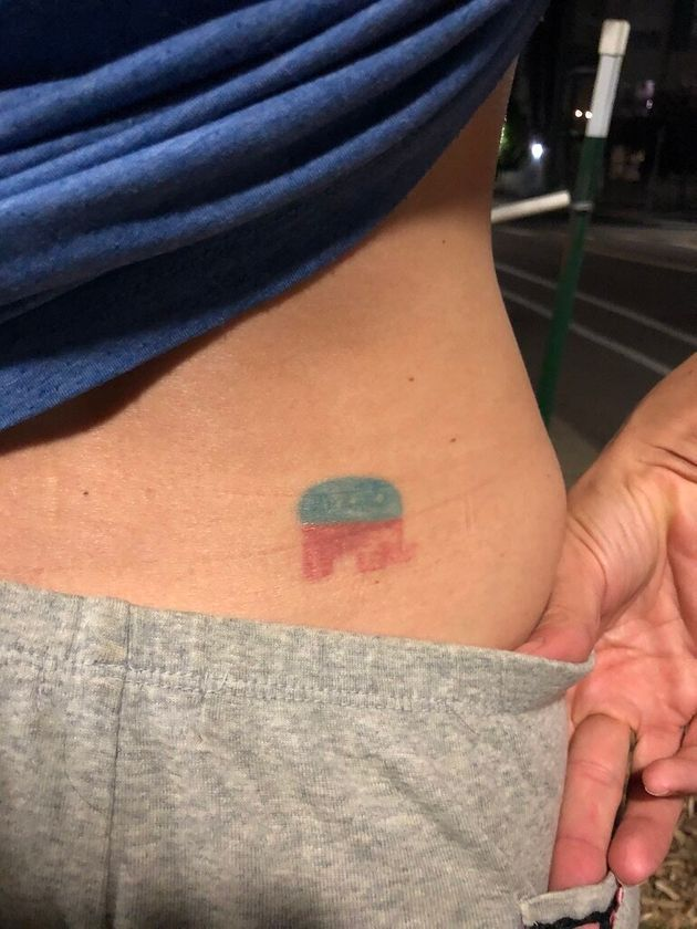 As if having a Republican elephant tattoo hasn't become embarrassing enough, it's faded and in a regrettable...