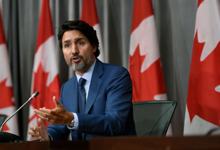 Prime Minister Justin Trudeau speaks during a news conference on the COVID-19 pandemic on Parliament Hill in Ottawa, on Friday.
