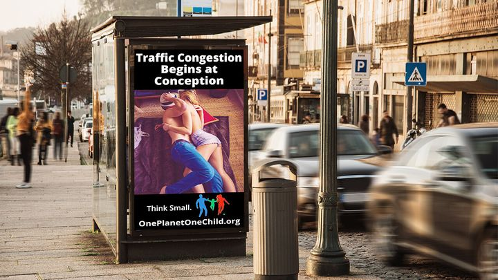 A transit ad created by the non-profit World Population Balance.