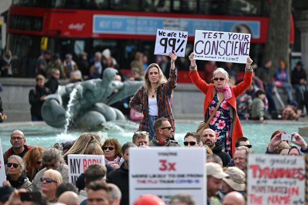 Protesters gather in Trafalgar Square in London.