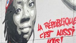 Une fresque représentant Danièle Obono en Marianne peinte à Stains contre la haine des