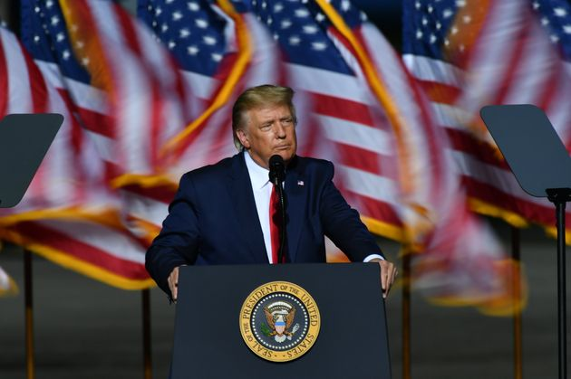 U.S. President Donald J. Trump hosts a Make America Great event in Newport News, Va, on September 25,...