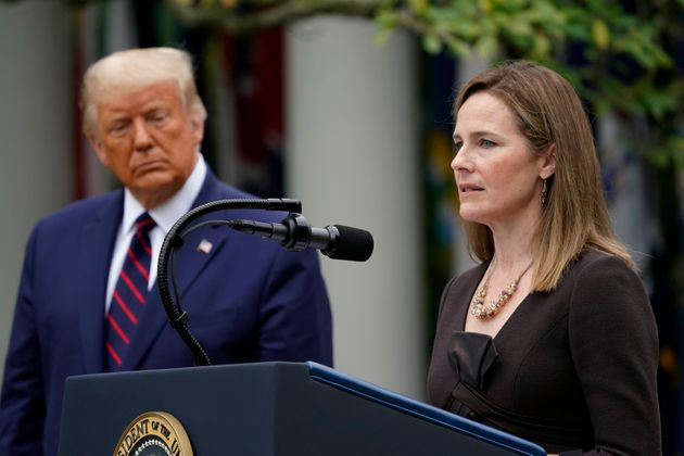 Judge Amy Coney Barrett speaks after President Donald Trump announced Barrett as his nominee to the Supreme...