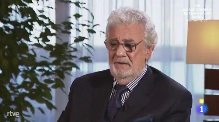Plácido Domingo en un momento de la entrevista.