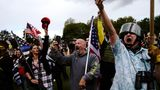 Members of the Proud Boys and other right-wing demonstrators rally on Saturday, Sept. 26, 2020, in Portland, Ore. (AP Photo/John Locher)