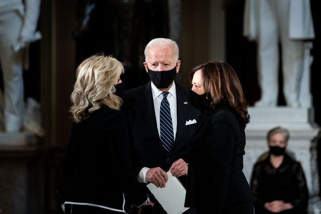 WASHINGTON, DC - SEPTEMBER 25: Democratic presidential nominee Joe Biden (C) and his wife Dr. Jill Biden...