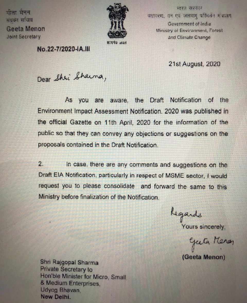 Letter from MoEF&CC Joint Secretary Geeta Menon to Rajgopal Sharma, the private secretary to MSME Minister...