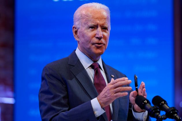 Democratic presidential candidate Joe Biden gives a speech Sunday in Wilmington,