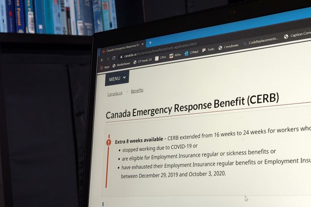 The landing page for the Canada Emergency Response Benefit is seen in
