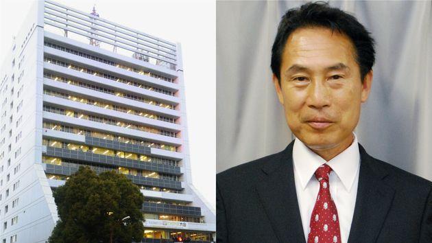 和歌山市役所(左)と尾花正啓・和歌山市長