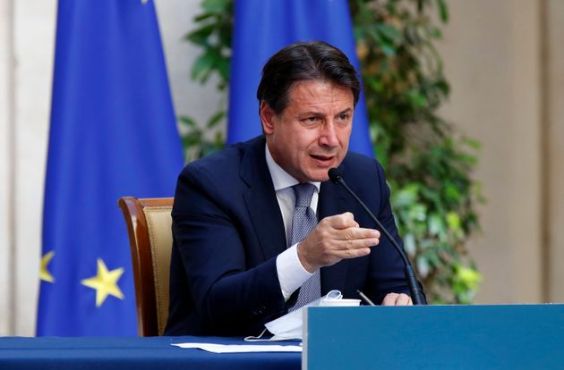 Prime Minister Giuseppe Conte during the press conference on anti Covid measures for the reopening of...