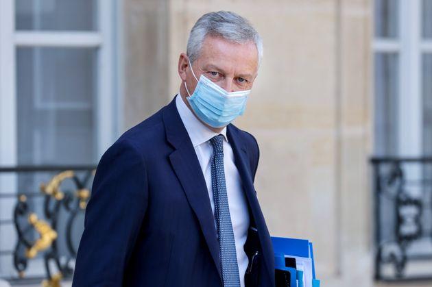 Bruno Le Maire, ministre de l'Economie et des Finances, sortant de l'Elysée, le 18 septembre