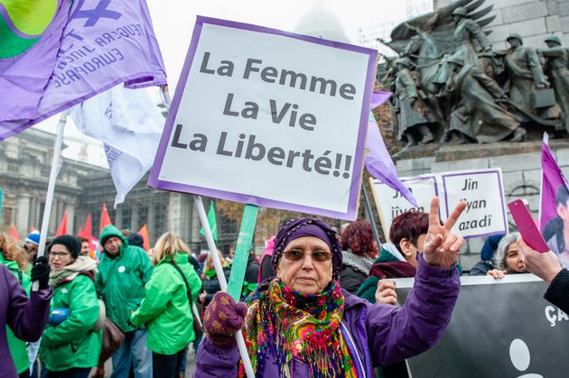 Manifestation à Bruxelles pour la ournée internationale pour l'élimination de la...