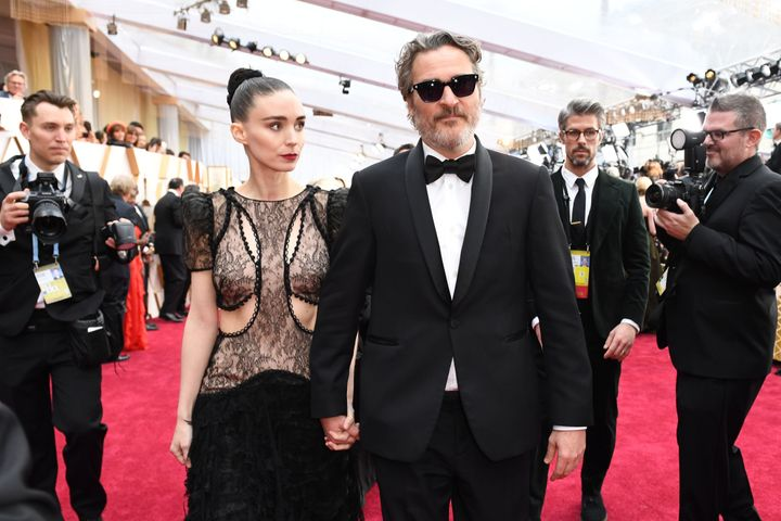 Joaquin Phoenix Rooney Mara arrive for the 92nd Oscars in 2020.