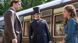 """Henry Cavill, Sam Claflin and Millie Bobby Brown in """"Enola Holmes"""" on Netflix."""