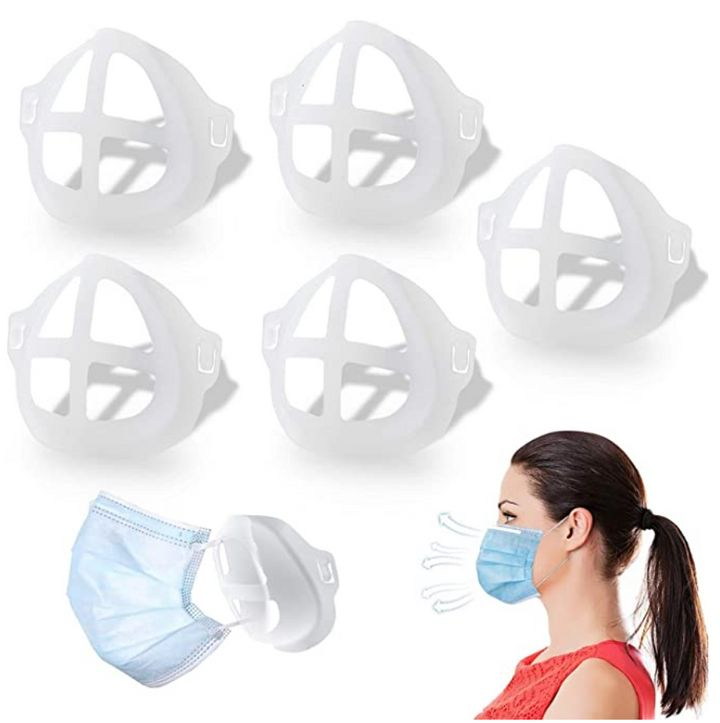 """This particular 5-pack of face mask brackets sells for <a href=""""https://www.amazon.com/Mask-Bracket-Oceantree-Accessories-Large-Adult/dp/B08CK6W57M?tag=thehuffingtop-20"""" target=""""_blank"""" rel=""""noopener noreferrer"""">$11.99 on Amazon</a>."""