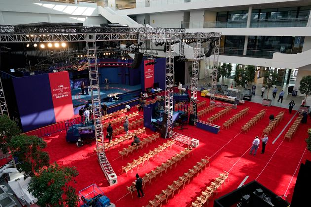 Preparations take place in Cleveland on Sept. 28, 2020, for the first presidential debate between Donald...