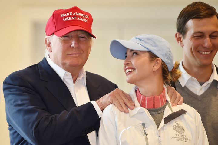Then-Republican presidential candidate Donald Trump visited his Scottish golf course with his daughter Ivanka Trump in 2015.