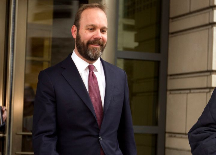 "Rick Gates leaves federal court in Washington, D.C., in February 2018. His book ""Wicked Game: An Insider's S"