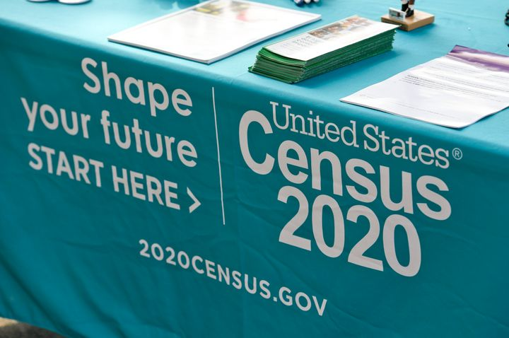 Reading, PA - September 25: A detail photo of the information table for the 2020 Census. Outside the 3rd and Spruce Recreatio