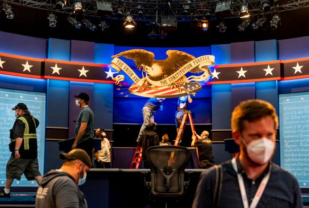 The stage is built and technology tested for the first 2020 presidential debate between Donald Trump...