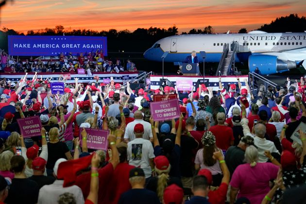 Donald Trump addresses a crowd at a campaign event at the Arnold Palmer Regional Airport, Thursday, Sept....