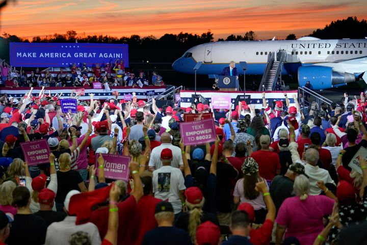 """<a href=""""https://www.huffpost.com/topic/donald-trump"""" role=""""link"""" data-ylk=""""subsec:paragraph;itc:0;cpos:__RAPID_INDEX__;pos:__RAPID_SUBINDEX__;elm:context_link"""">Donald Trump</a> addresses a crowd at a campaign event at the Arnold Palmer Regional Airport, Thursday, Sept. 3, 2020, in Latrobe, Pennsylvania."""