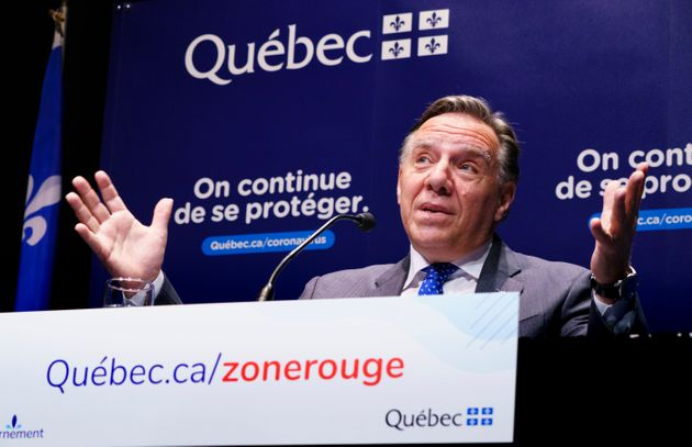 """Quebec Premier Francois Legault responds to a question during a news conference Monday in Montreal.""""The..."""