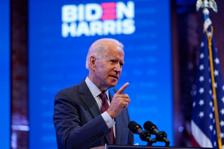Democratic presidential candidate former Vice President Joe Biden gives a speech on the Supreme Court at The Queen Theater, S