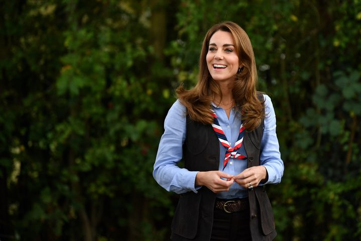 The Duchess of Cambridge arrives to visit a Scout Group in Northolt, northwest London where she joined Cub and Beaver Scouts