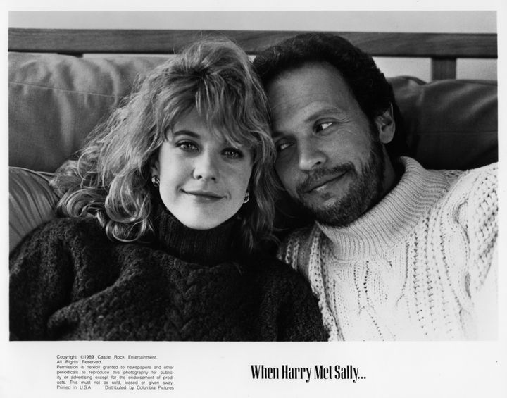 """Actors Meg Ryan and Billy Crystal pose for the movie """"When Harry Met Sally,"""" circa 1989."""
