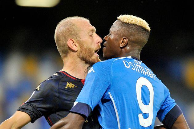NAPOLI, ITALY - 2020/09/27: Kalidou Koulibaly player of Napoli and Andrea Masiello player of Genoa, during...