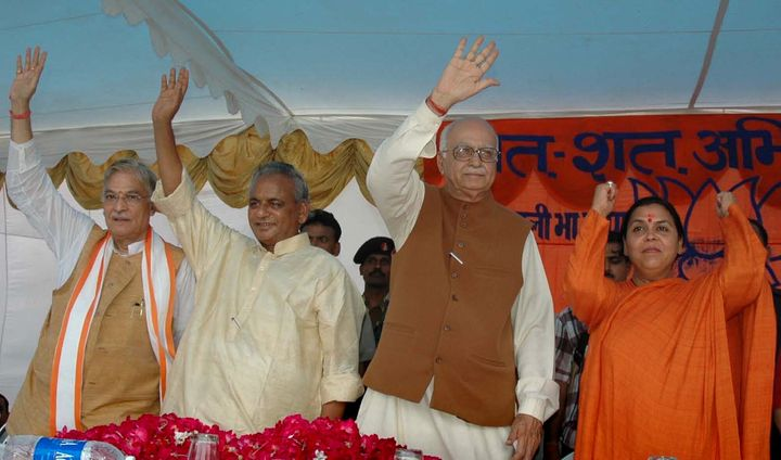 LK Advani and other senior BJP leaders Uma Bharati, right, Kalyan Singh, second left, and Murli Manohar Joshi at a public rally in Rae Bareilly, Uttar Pradesh, Thursday, July 28, 2005.