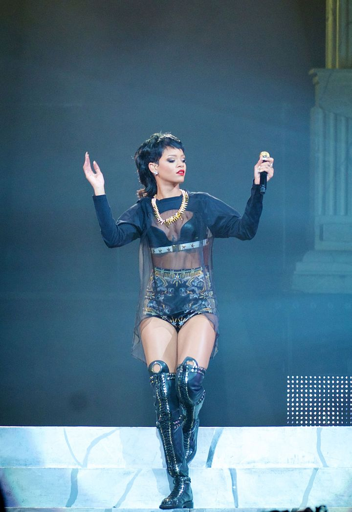 Rihanna performs live for fans at the first show of her Australian Tour at Perth Arena on September 24, 2013 in Perth, Australia.